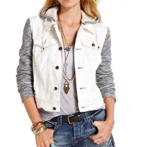 Free People Distressed Mixed Material Denim Jacket